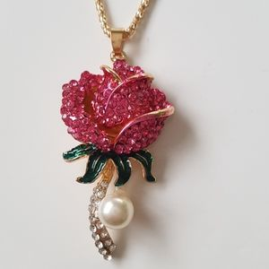 BJ Necklace Crystal Rose Pendant Chain